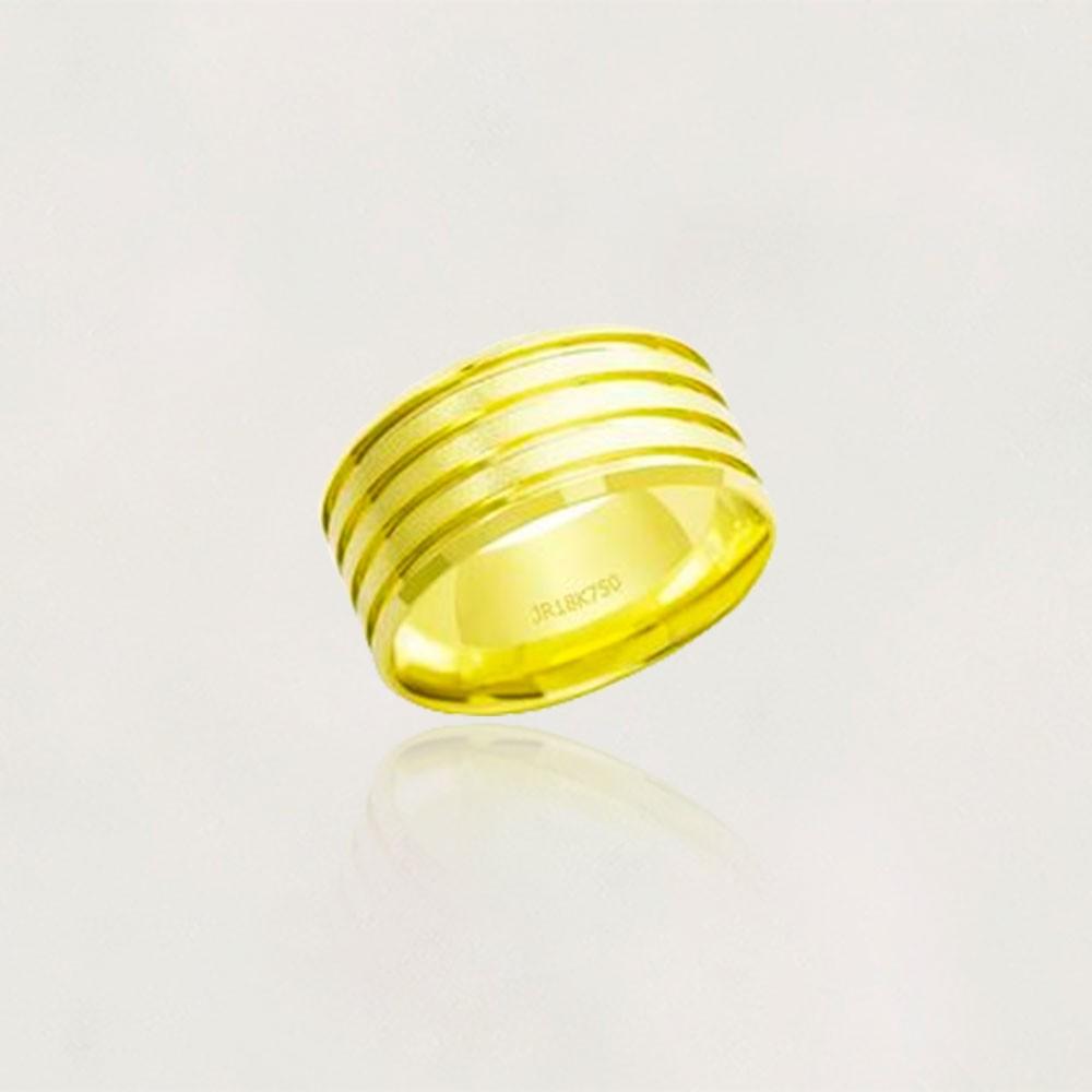 Aliança em Ouro 18k Plana AT857 Anatômica Larga 3 Fendas Fosca/ Lisa Largura: 5.0 mm