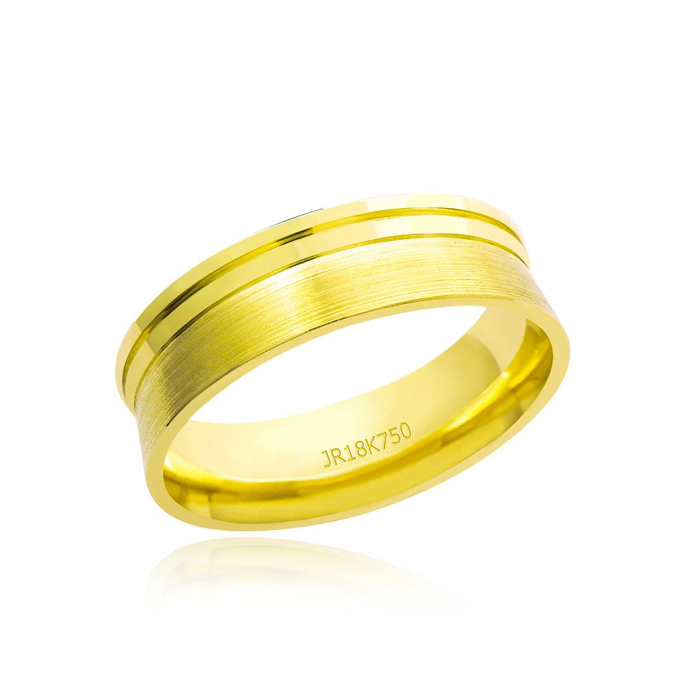 Aliança em Ouro 18k Plana com Fenda AT613 Lisa /Fosca Anatômica Largura : 6.0 mm