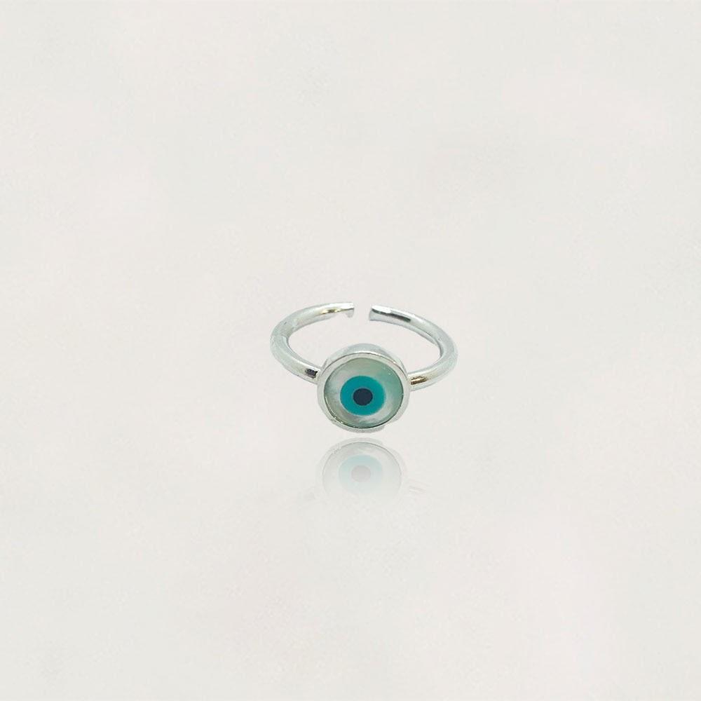Anel em Prata 0925 Olho Grego Regulável com Olho Grego