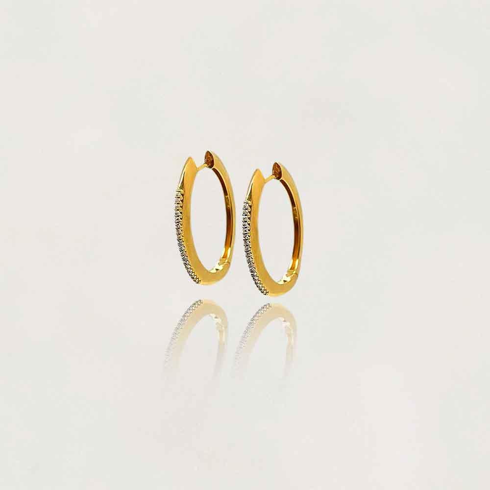 Argola Disco Semi Jóia com Zircônias Banhada a Ouro 18k Tamanho 3.0 cm