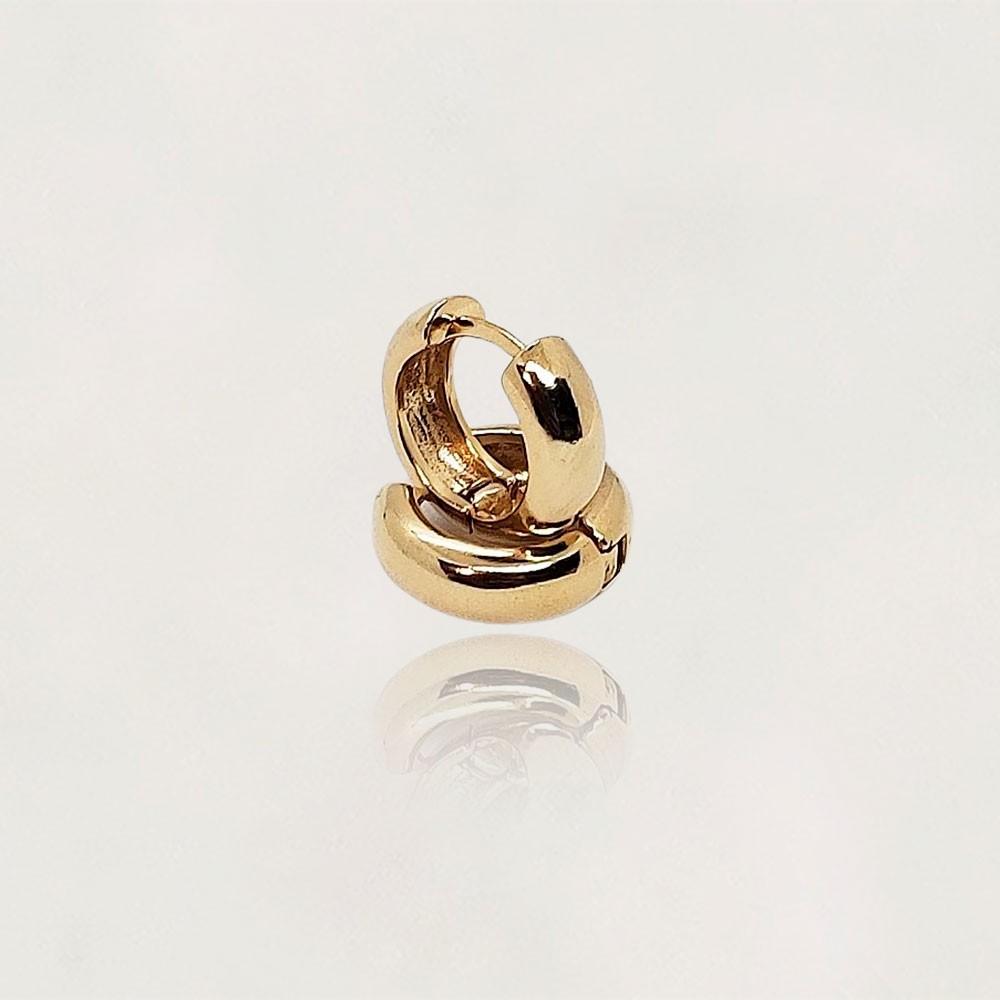 Argola Semi Jóia Banhada a Ouro 18k Lisa Tamanho : 1.5 cm