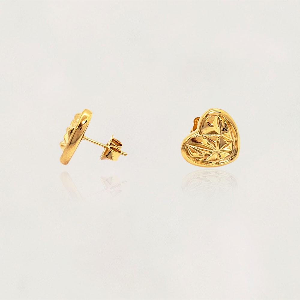 Brinco Semi Jóia Coração Sextavado Banhado a Ouro 18k Tamanho : 1.2 cm
