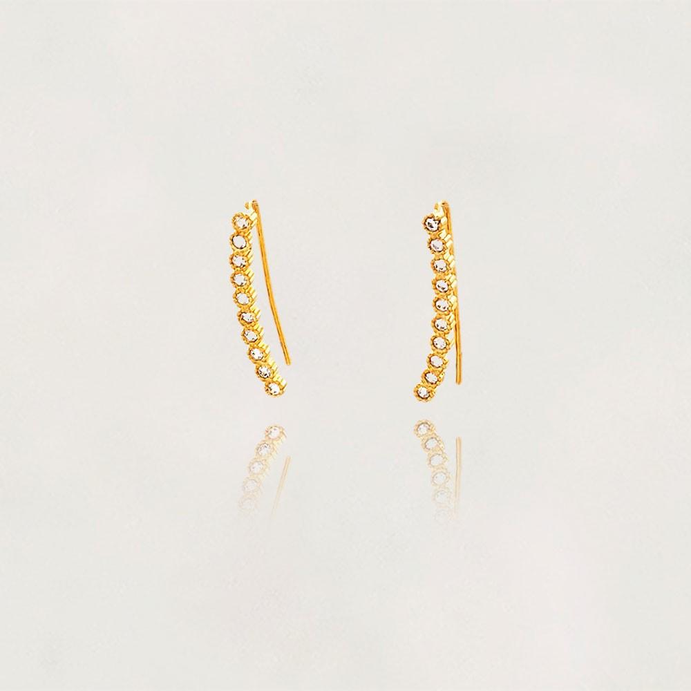 Brinco Ear Cuff Semi Jóia com Zircônias Banhado a Ouro 18k Tamanho : 2.0 cm