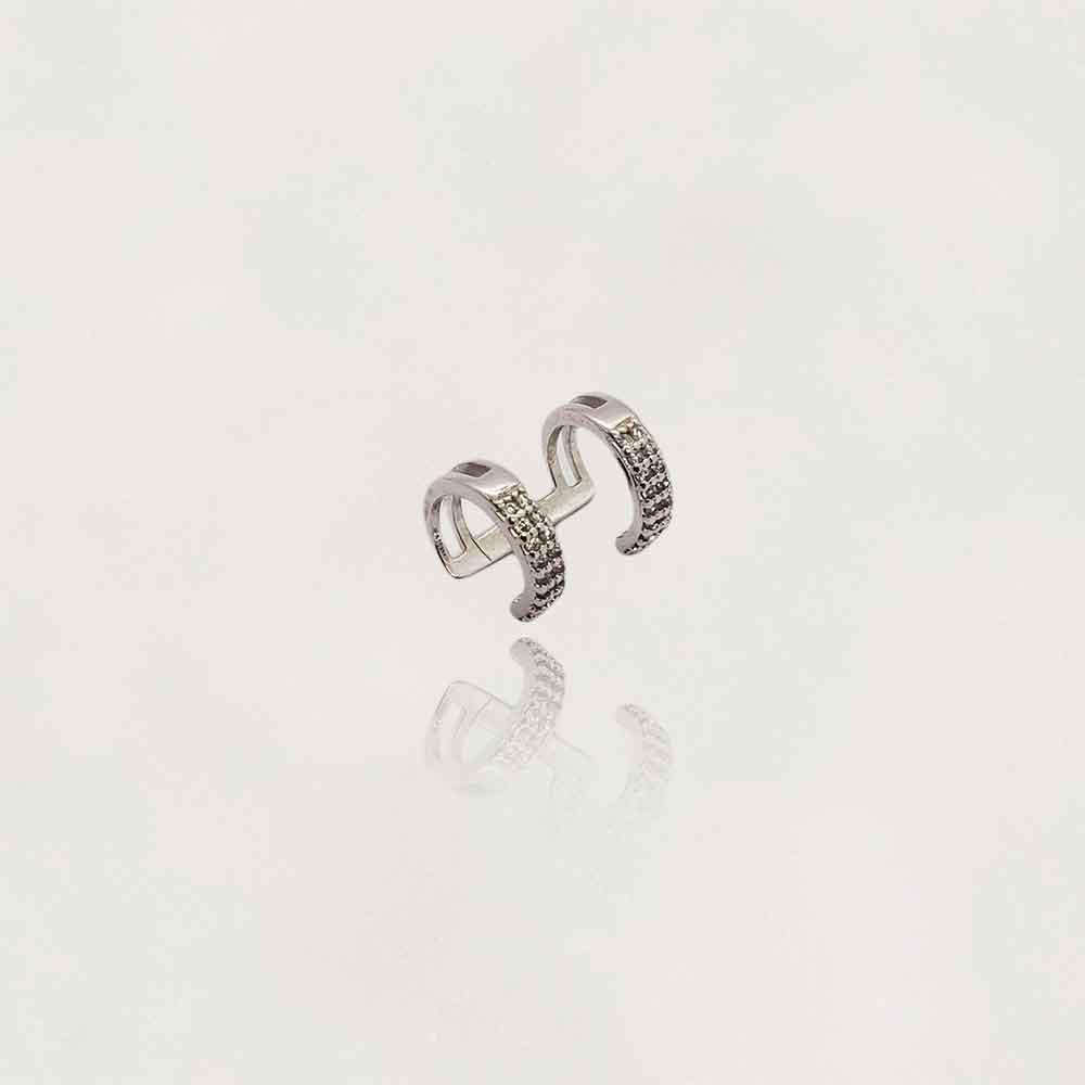 Brinco Piercing Duplo Semi Jóia Rodinado com Zircônias Tamanho : 1.5 cm