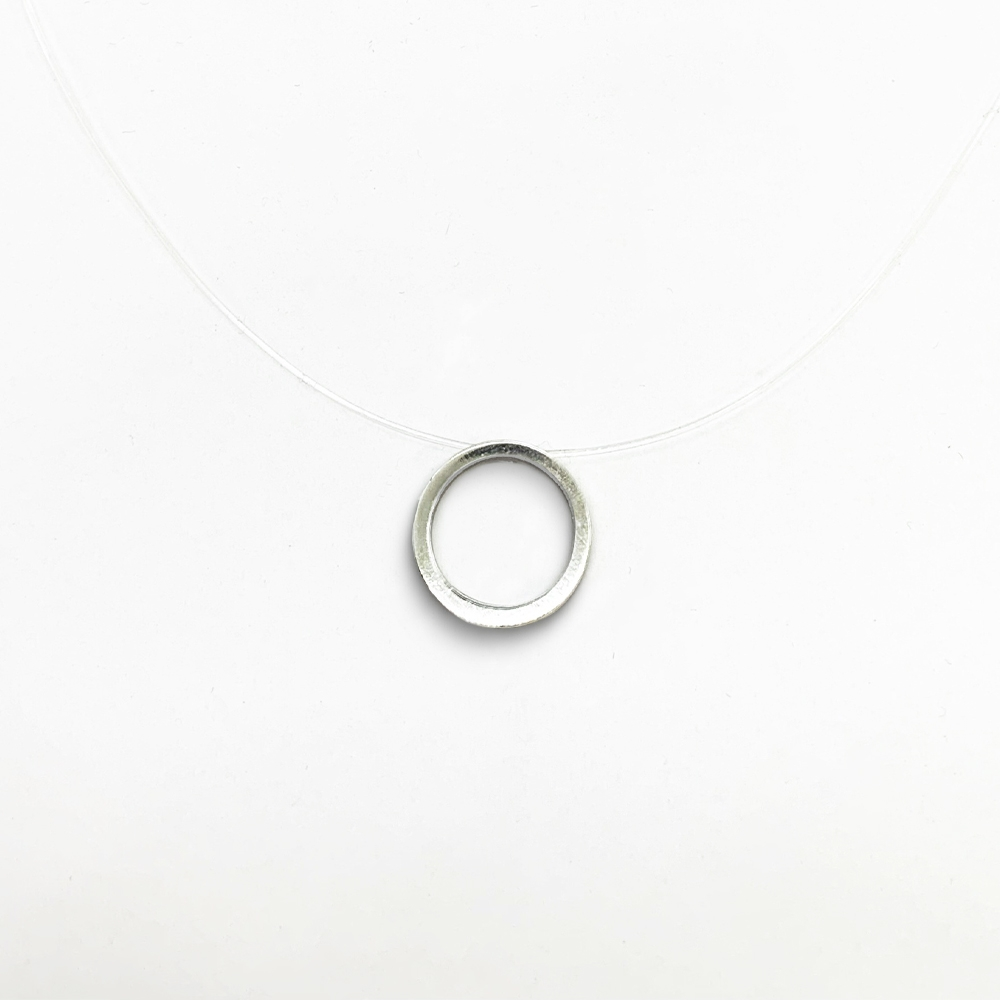Cordão círculo vazado em Nylon com Prata 0925