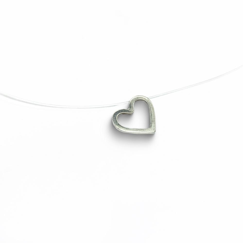 Cordão coração  em Nylon com Prata 0925