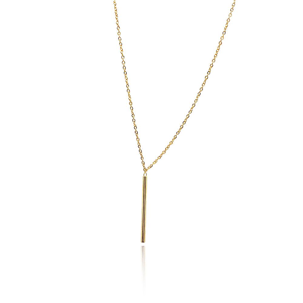 Cordão Semi Jóia Palito  com Zirconias Banhado a Ouro 18k Tamanho : 80.0 cm