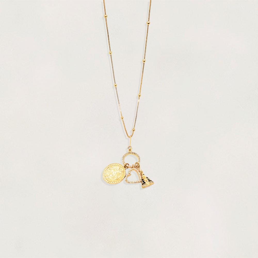 Cordão Semi Jóia Patuá com São Bento Nossa Senhora e Coração com Zircônias Tamanho : 70.0 cm