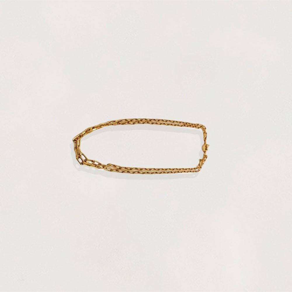 Gargantilha Semi Jóia Cadeado Duplo Alongado com Fecho Bóia -  Tamanho : 42.0 cm