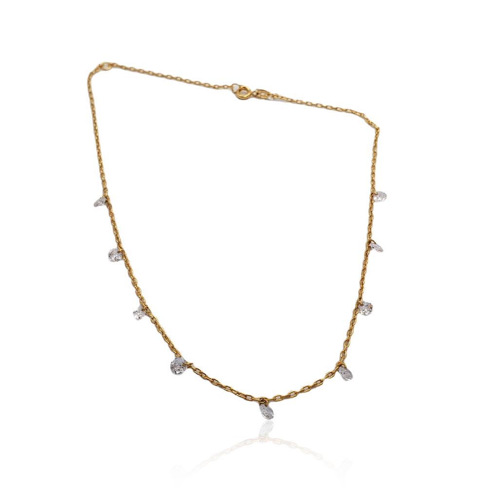 Gargantilha Semi Jóia Choker com Zircônias Fio Cadeado Banhada a Ouro 18 Tamanho : 36.0 cm
