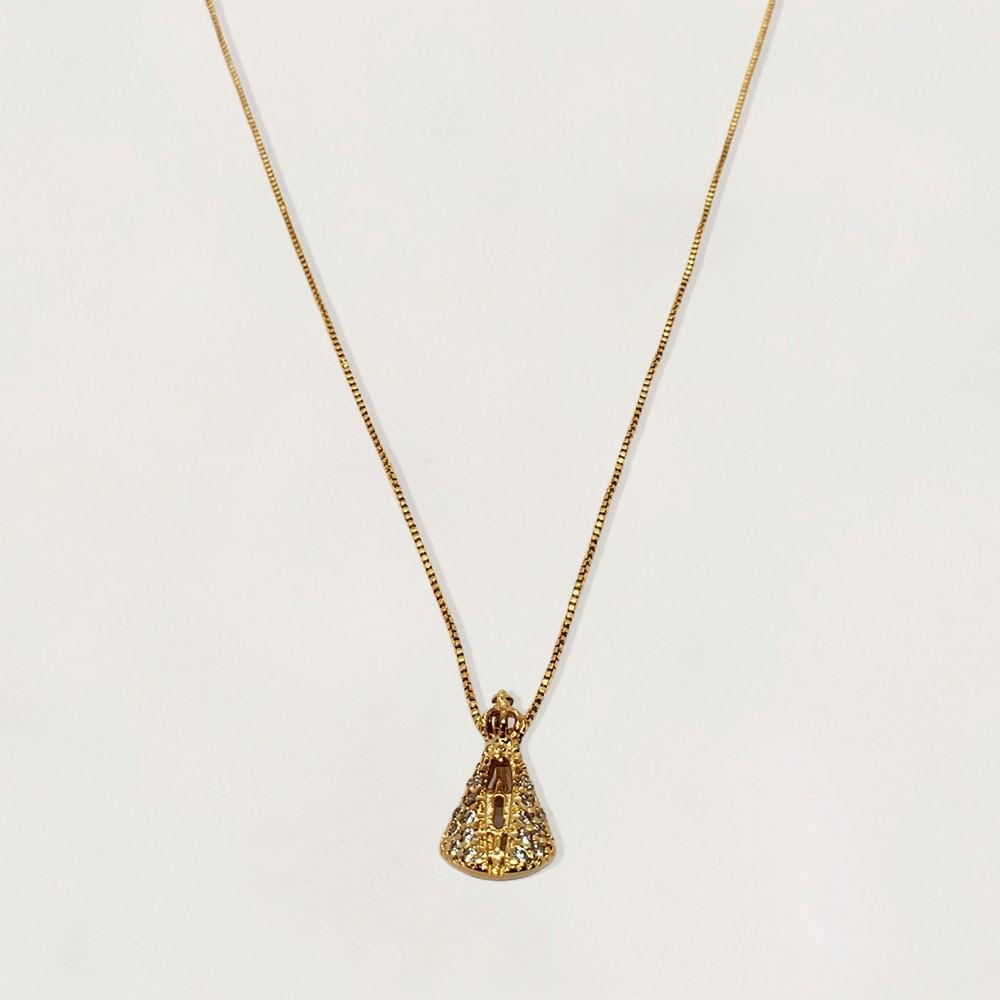 Gargantilha Semi Jóia Nossa Senhora da Aparecida com Zircônias Banhada a Ouro 18k Tamanho : 45.0 cm