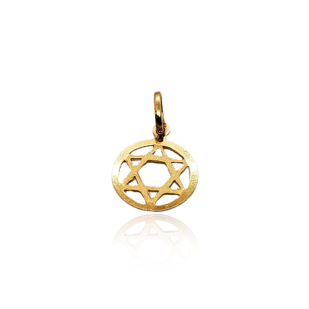 Pingente Estrela de David em Ouro 18k