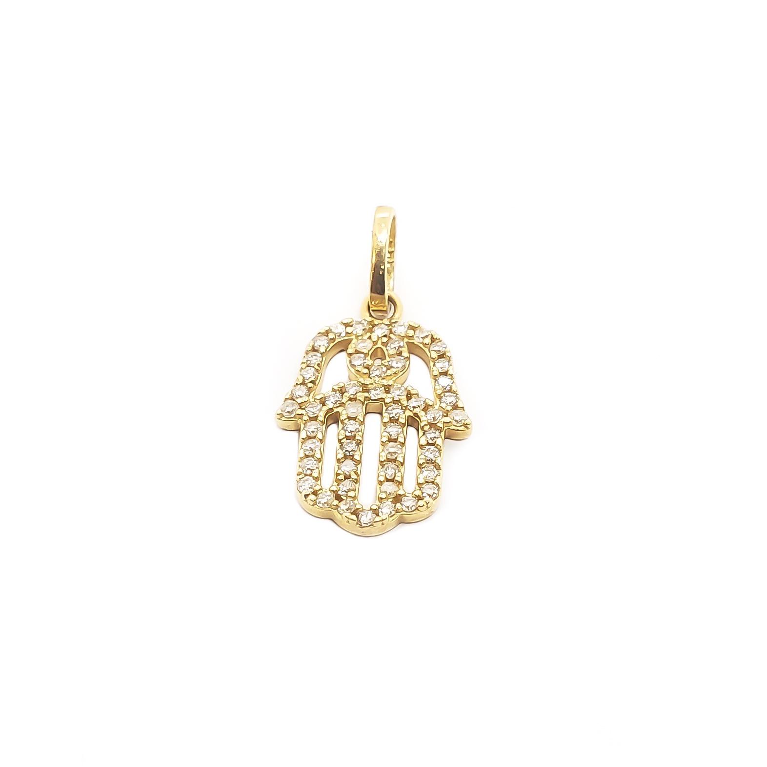 Pingente Hamsa em Ouro 18k com Diamantes