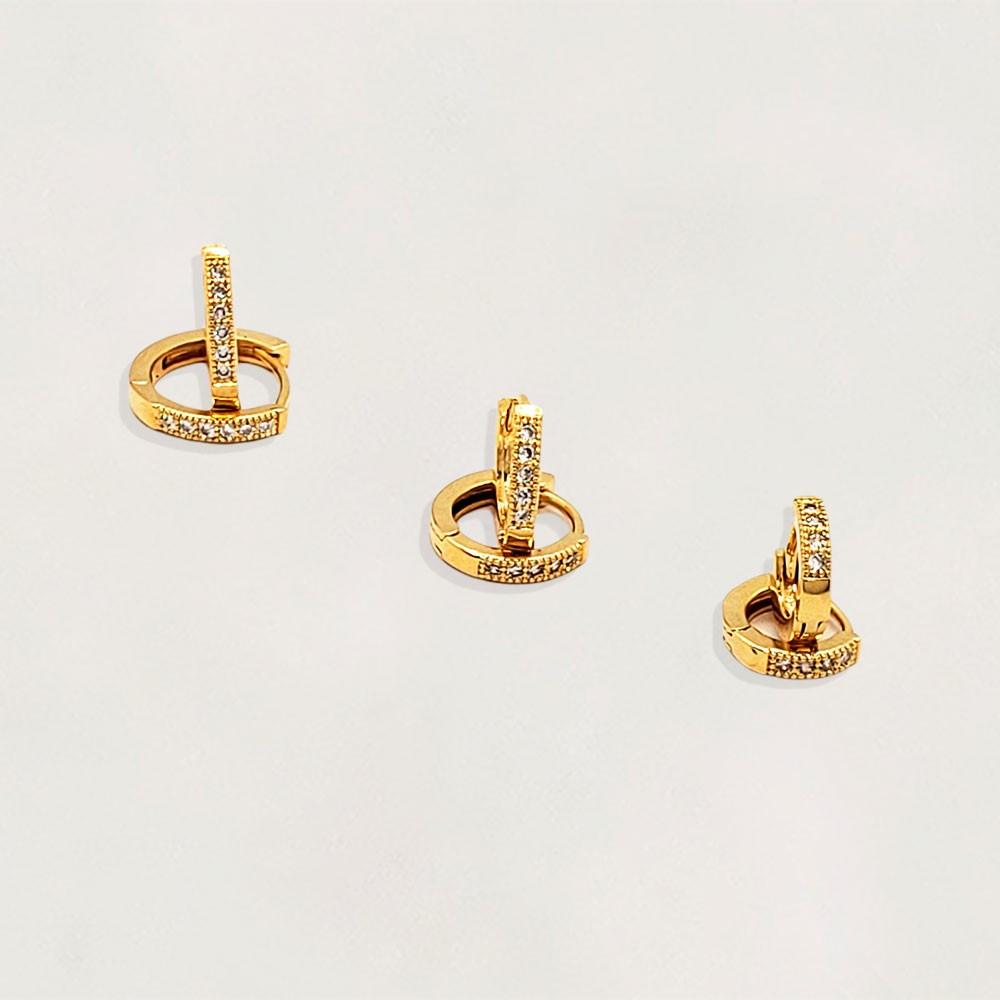 Trio Argolas Semi Jóia com Zircônias Banhada a Ouro 18k  Tamanhos: de 1.0 cm a 1.4 cm