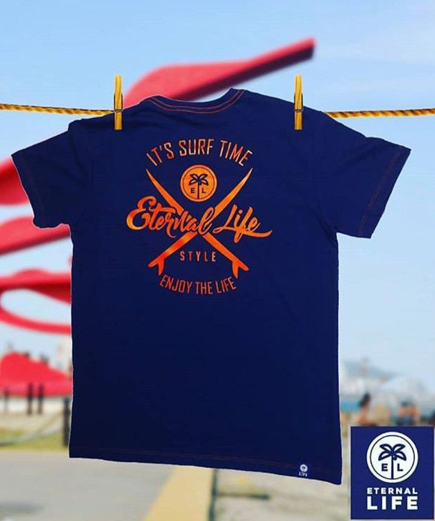 Camiseta Estampada Surf Eternal Life Style Masculina Azul