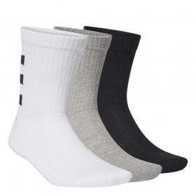 Kit Meia Adidas 3 Stripes Half-Cushioned Crew - 3 Pares