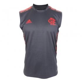 Regata Oficial Flamengo Treino 21/22 Masculino Cinza/Vermelho