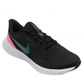 Tênis Nike Revolution 5 Feminino Preto Branco Rosa