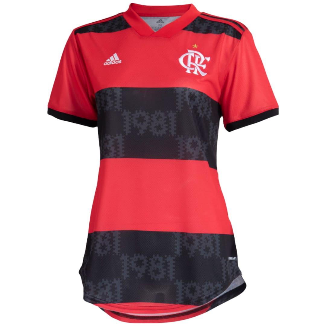 Camisa Oficial Flamengo l 21/22 Feminino Preto Vermelho