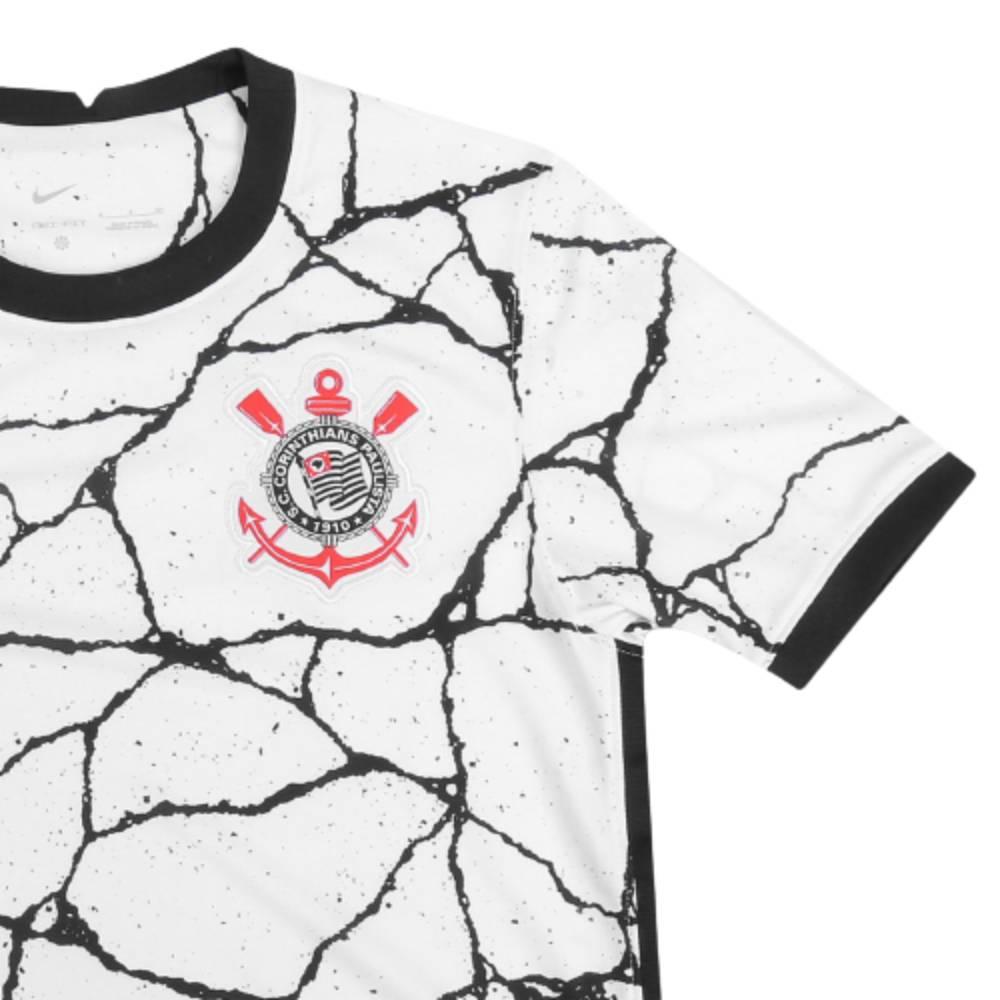Camisa Oficial Corinthians I 21/22 Masculino Branco Preto