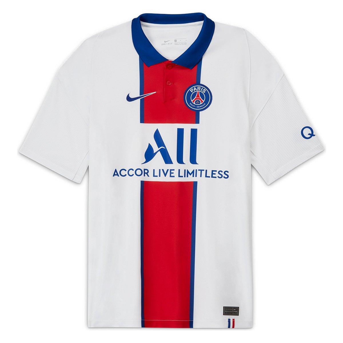 Camisa Oficial Paris Saint-Germain 20/21 Masculino Branco Vermelho