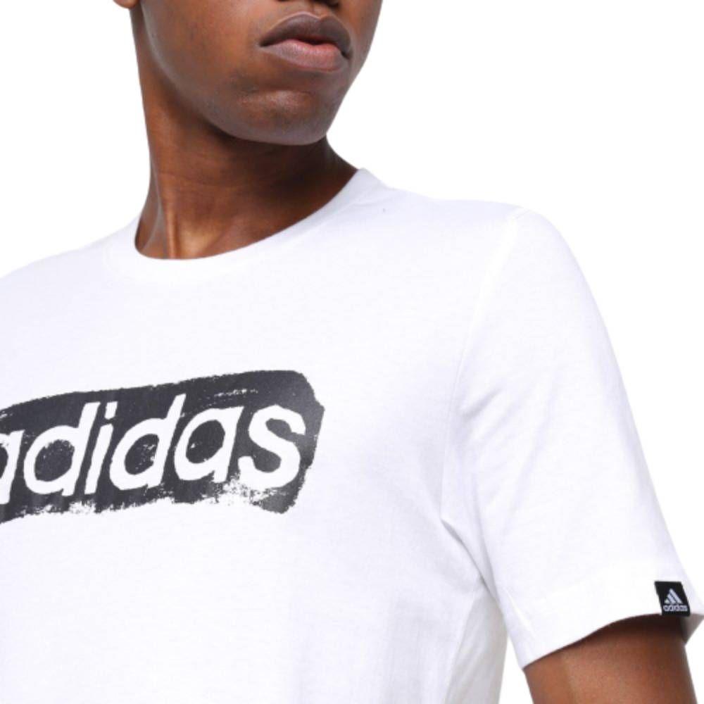 Camiseta Adidas Logo Linear - Branco/Preto
