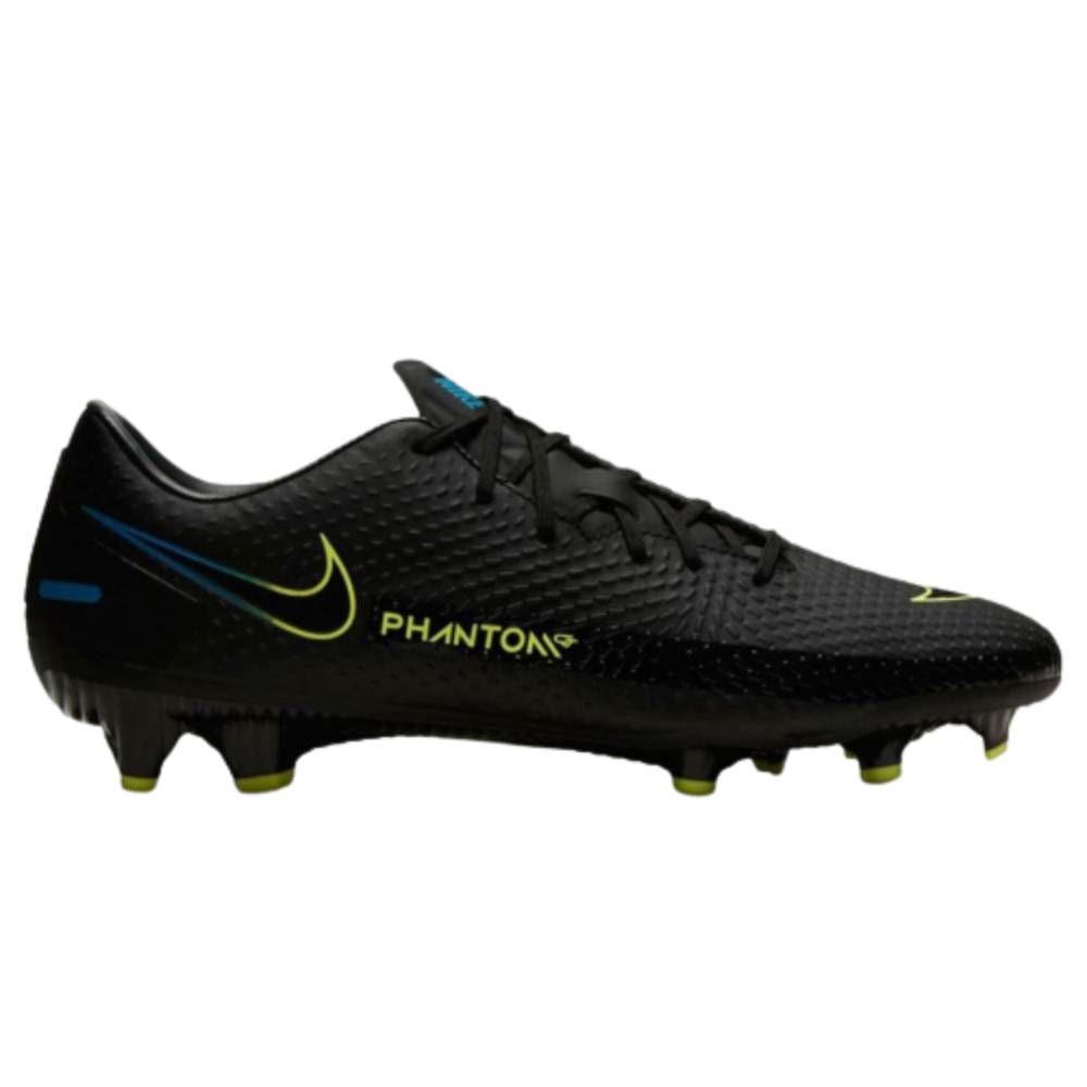 Chuteira Campo Nike Phantom Academy Preto, Azul Amarelo
