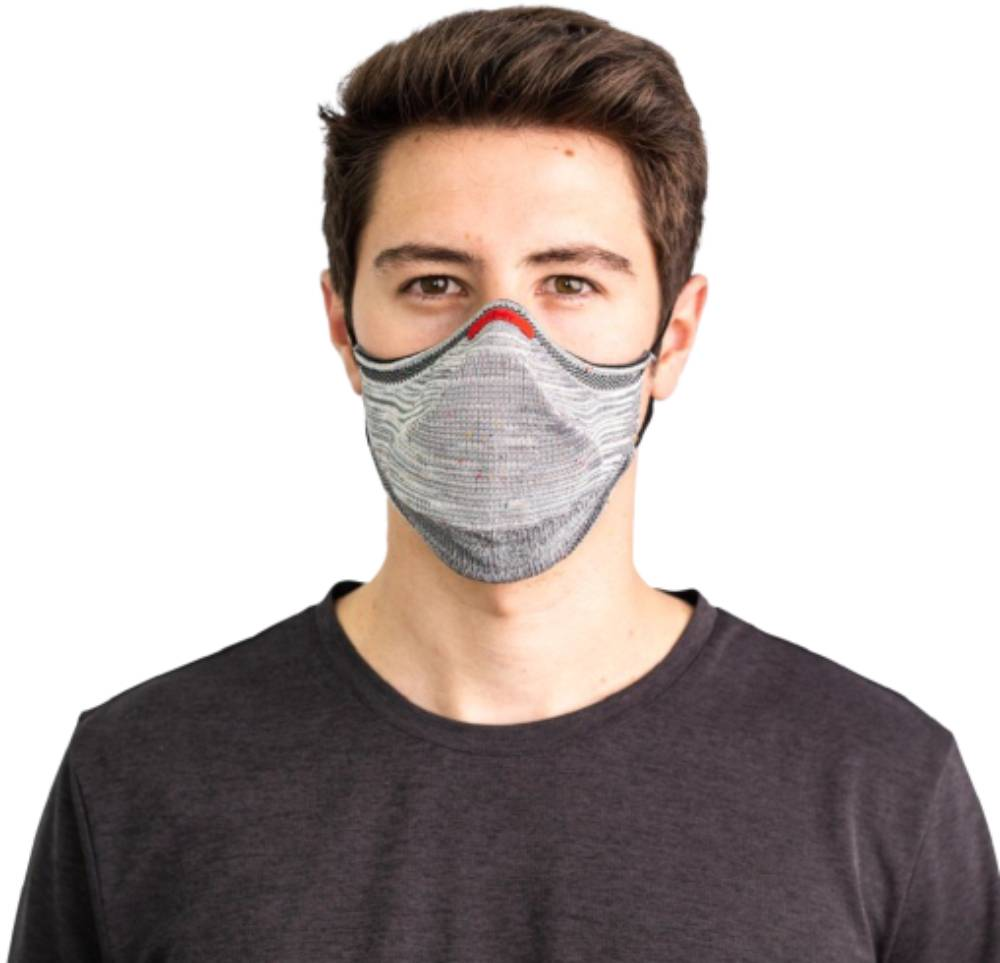 Máscara Fiber Knit Air 30 Filtros de Proteção+Suporte 3D Cinza