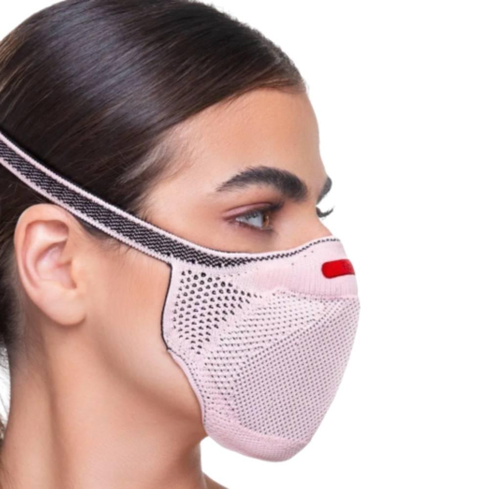 Máscara Fiber Knit Sport Clipe Nasal+Suporte+30filtros Rosa
