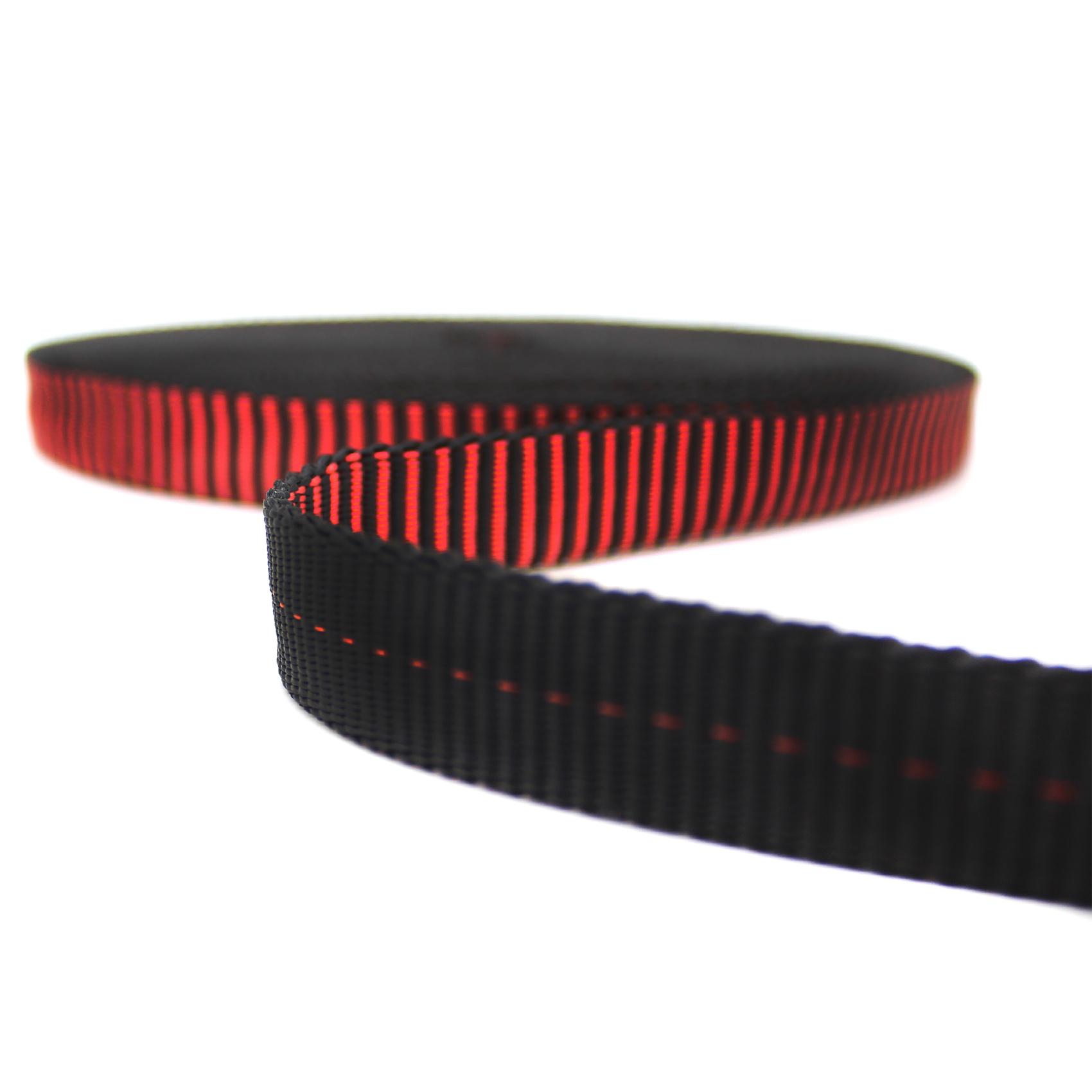 Fita Tubular 19mm GT Alta Resistência Preta Com Vermelho.