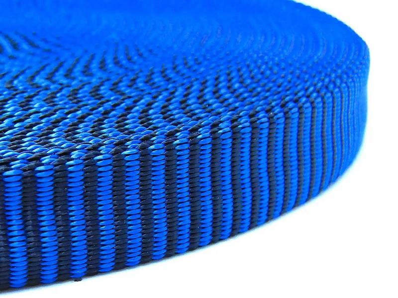 Fita Tubular 20mm Alta Resistência Preta Com Azul Conquista