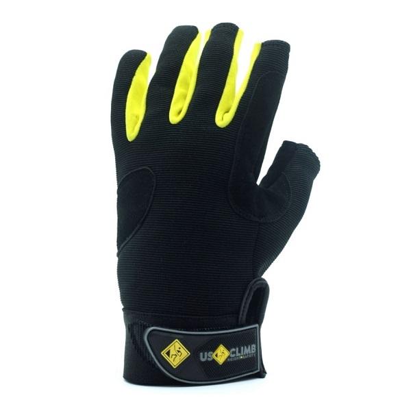 Luva USClimb Freedom com proteção especial em couro sem 3 dedos