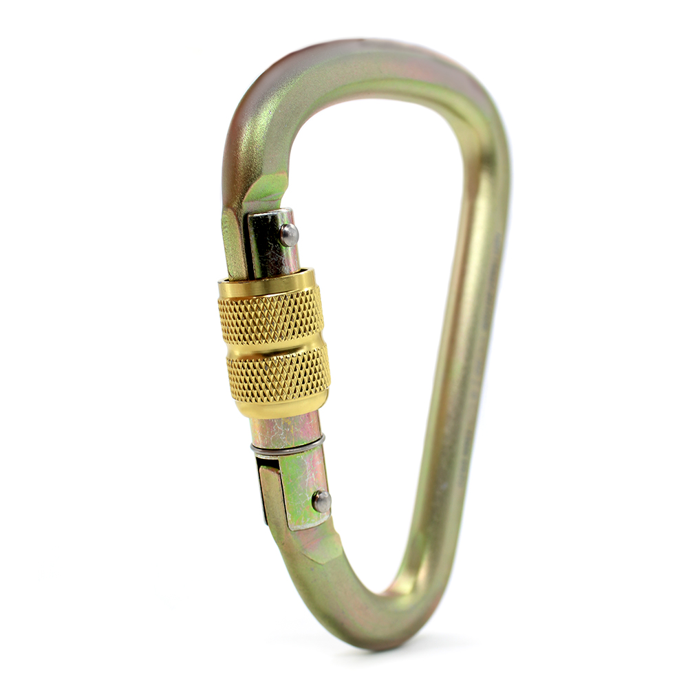 Mosquetão aço formato pera SideUp 30KN trava rosca CE EN NBR