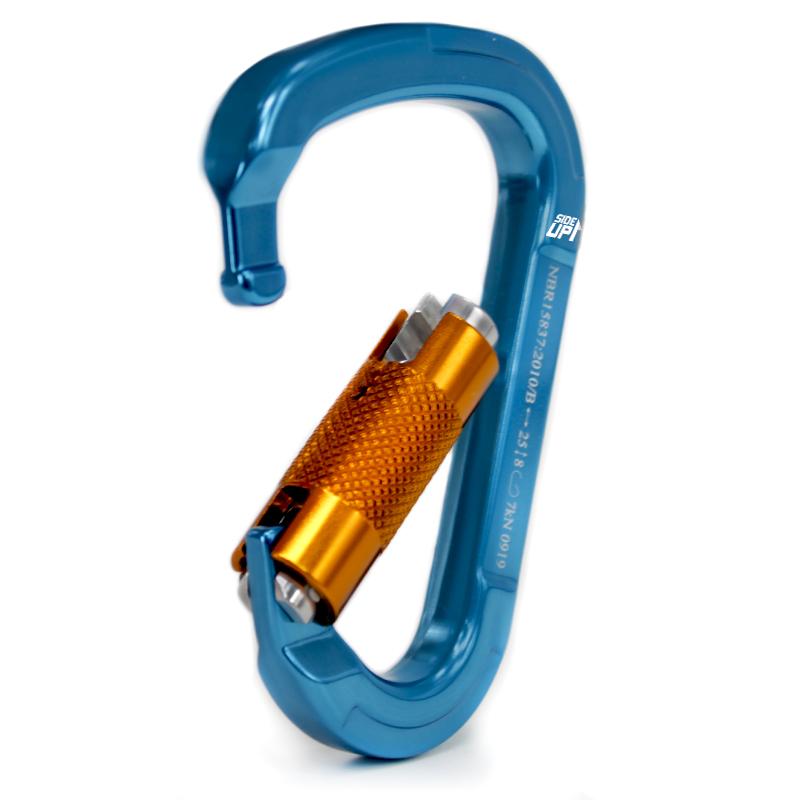 Mosquetão SideUp Alumínio Hms Trava Automática 25KN Azul Keylock