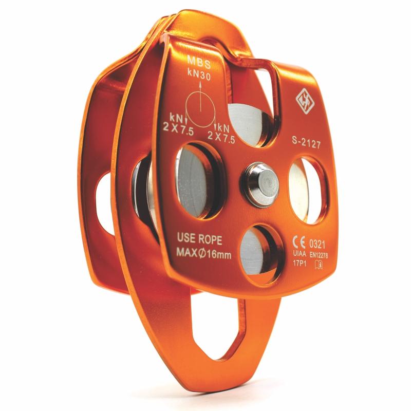 Polia dupla oscilante USClimb 30KN CE UIAA para corda até 16mm