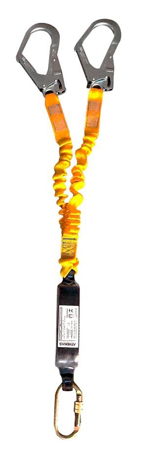 Talabarte Athenas Y Fita elástica com Absorvedor de energia gancho 55mm e mosquetão oval