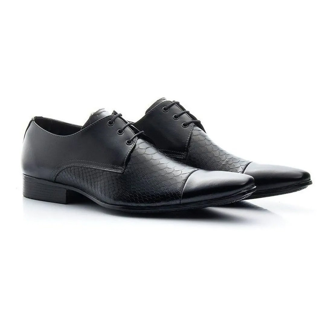 Sapato Estilo Social Keep Shoes Cor Preto Crocodilo 307