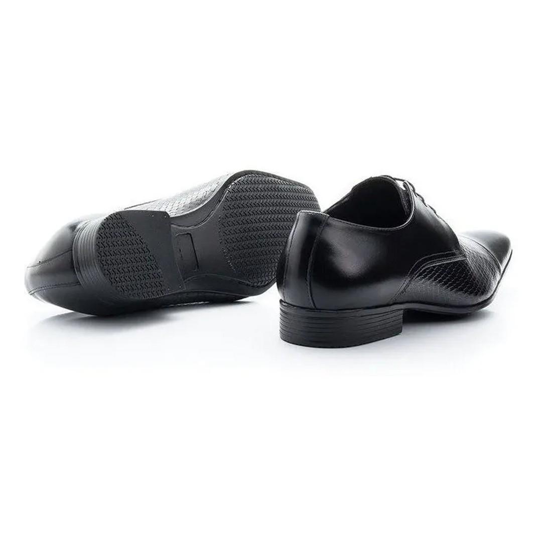 Sapato Estilo Social Keep Shoes Cor Preto Crocodilo 307
