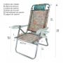 Cadeira de Praia Alumínio Reclinável Up Line Resistente Zaka