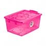 Caixa Organizadora Com Trava 30 Litros Pink Ordene