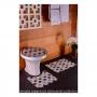 Jogo de Tapete para Banheiro Pratik 3 Peças Mosaico Marrom Oasis