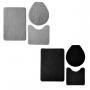 Kit 2 Jogos de Tapetes Banheiro Relevo 3 Peças Preto e Prata Oasis