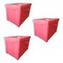 Kit 3 Caixa Organizadora Grande Com Trava 30L Rosa Sanremo