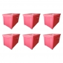 Kit 6 Caixa Organizadora Grande Com Trava 30L Rosa Sanremo