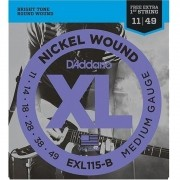 Encordoamento para Guitarra D'Addarío 011-049 - EXL115-B (1 MI Extra)