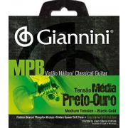 Encordoamento para Violão Nylon Giannini - GENWBG Preto/Ouro (Tensão Média)