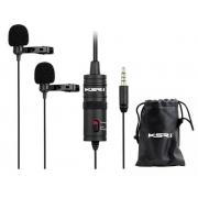 Microfone Lapela Duplo KSR PRO K1DM (Celular/Câmera/Computador)