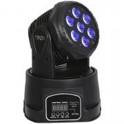 Mini Moving Head 7 Leds de 12w RGBW (DMX/Display Digital/Bivolt)
