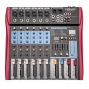 Mixer Soundvoice MS-602 EUX (6 Canais/USB/Equalizador 7 Bandas/Efeito Digital)