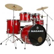 Nagano Bateria Acústica Garage FUSION Vermelha Sparkle (Bumbo 20''/Sem Pratos)